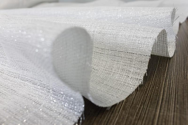 Tkanina POSREBRZANA na zasłony 290 cm wys. biała