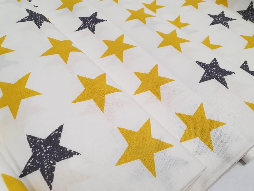 Tkanina 100% bawełna 240 cm gwiazdki szary żółty na białym tle