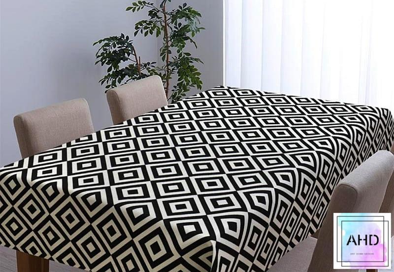 Obrus romby czarno-biały 140x180